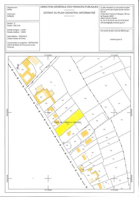 Terrain � b�tir COURONNE SUD DE LILLE 120 000€ HNI 59012-1412028 TERRAIN de 2550m² - Zone Uac - non viabilisé- Façade rue environ 25.5métres